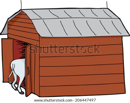 Cow rear end and wooden barn with tin roof - stock vector