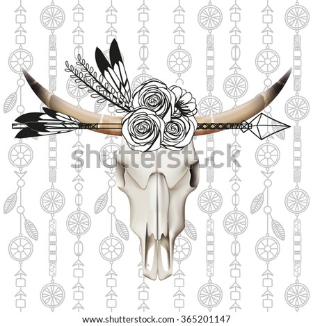 Cow skull,arrows,feathers,flowers, boho label - stock vector