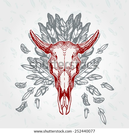 Cow skull on a plumage background. Contains transparent objects - stock vector