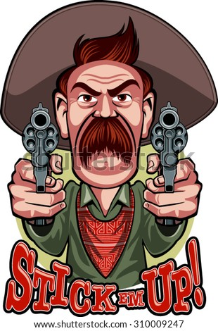 """cowboy aiming with revolvers, and the text """"stick em up"""" - stock vector"""