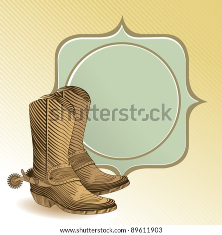 cowboy boots in engraving style - vector illustration - stock vector