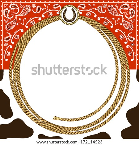 cowboy card background with rope frame and western decoration.Vector illustration for design - stock vector
