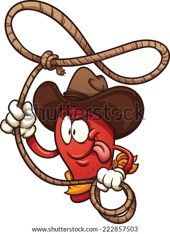 Cowboy chili pepper with lasso. Vector clip art illustration with simple gradients. All in a single layer. - stock vector
