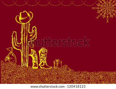 Cowboy christmas card with holiday elements and decoration for text - stock vector