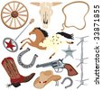 Cowboy clip art elements, isolated on white - stock vector