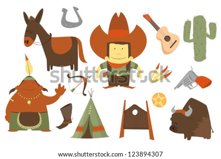 cowboy clip art pack - stock vector