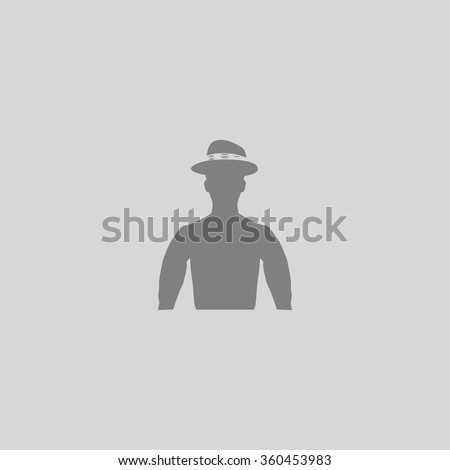 Cowboy - Grey flat icon on gray background - stock vector