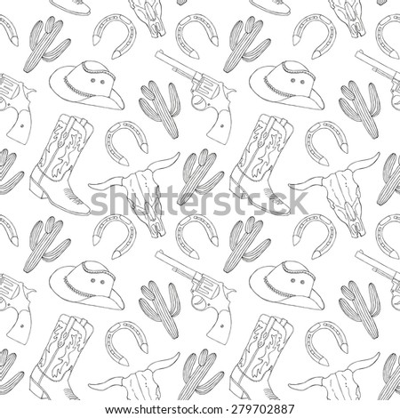 Cowboy hand drawn seamless pattern. Vector illustration - stock vector