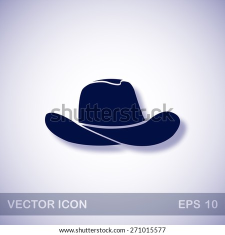 Cowboy hat vector icon - dark blue illustration with blue shadow - stock vector