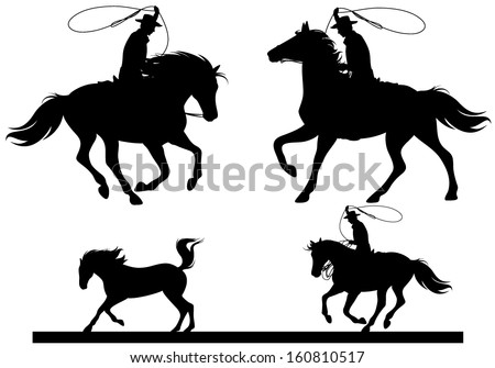 cowboy horsemen fine vector silhouettes - black riders over white - stock vector