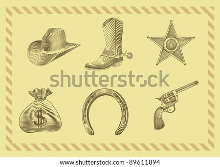 cowboy icon set in engraving style - vector illustration - stock vector