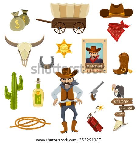 Cowboy icons set with dynamite skull and horseshoe cartoon isolated vector illustration  - stock vector