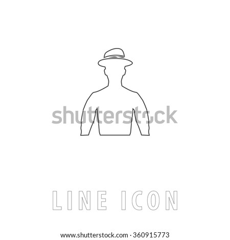 Cowboy Outline simple vector icon on white background. Line pictogram with text  - stock vector