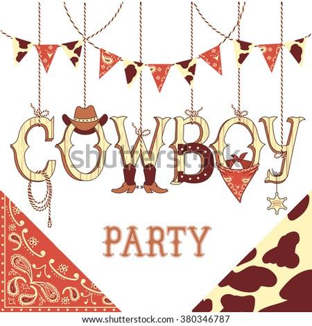 Cowboy party western decoration .Vector symbols with western decoration - stock vector