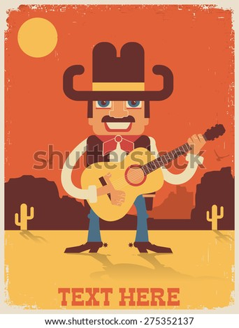 Cowboy playing guitar and singing vector country music poster