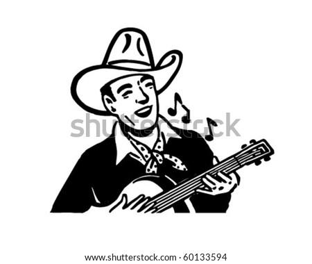 Cowboy Playing Guitar - Retro Clip Art - stock vector