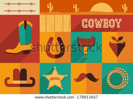 Cowboy set of wild west icons.Vector illustration of flat design style - stock vector