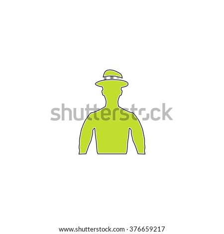 Cowboy simple flat icon - stock vector