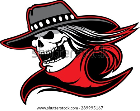Cowboy Skull  Cartoon of a skull with western hat and bandanna. Vector file. - stock vector
