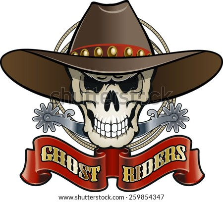 cowboy skull with spurs, lasso and text ghost riders - stock vector