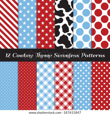 Cowboy Theme Seamless Pattern Pack with Cow Skin Print, Blue, Red, Black and White Gingham, Polka Dots, Stripes and Stars Backgrounds. Pattern Swatches made with Global Colors. - stock vector
