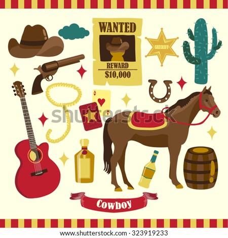 Cowboy Vector Design Illustration - stock vector