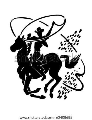 Cowboy With Lasso - Retro Clipart Illustration - stock vector