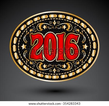 Cowboy 2016 year oval belt buckle design, 2016 western emblem  - stock vector