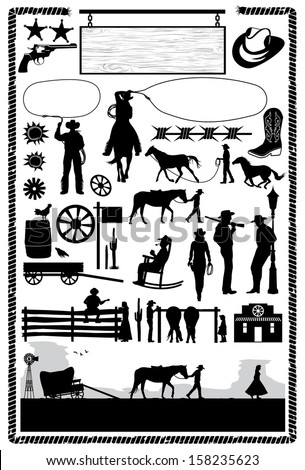Cowboys and wild west icons, vector - stock vector