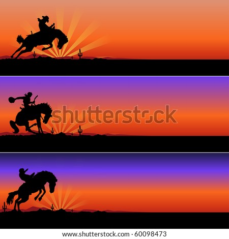 cowboys riding horses in desert vector illustration - stock vector