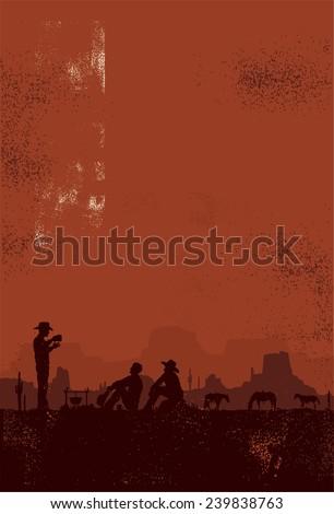 Cowboys taking a break, vector - stock vector
