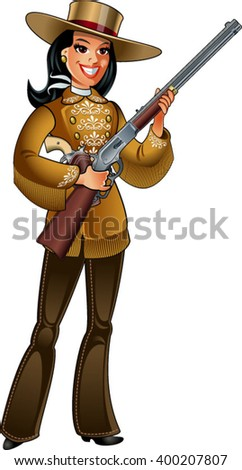 cowgirl in deerskin clothing, with winchester rifle and colt pistol - stock vector