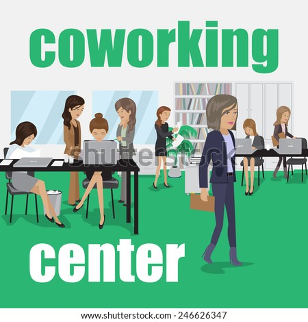 Coworking Center - Vector Illustration, Graphic Design, Editable For Your Design - stock vector