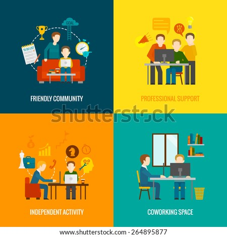 Coworking space center design concept set with friendly community professional support independent activity flat icons isolated vector illustration - stock vector