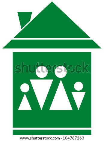cozy green symbol with family silhouette in big home - stock vector