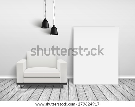 cozy house interior scene with blank sofa and poster frame  - stock vector
