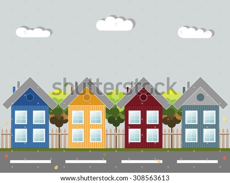 Cozy Wooden House With Rain And Colorful Leaves, Autumn Theme - stock vector
