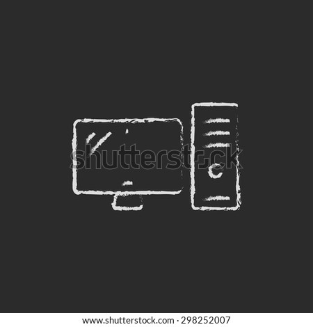 CPU and monitor hand drawn in chalk on a blackboard vector white icon on a black background - stock vector