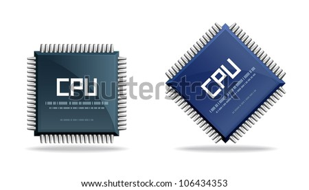 CPU (central processing unit) - Computer chip or microchip. Stylized icons. - stock vector