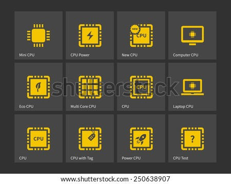 CPU, Central Processing Unit icons. Vector illustration. - stock vector