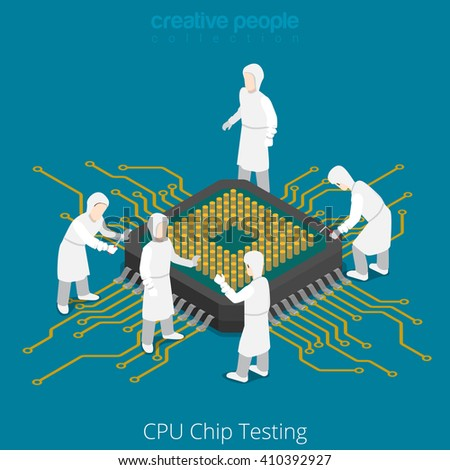 CPU chip socket testing repair service. Serviceman checkup soldering computer component. 3d isometric style vector illustration. - stock vector