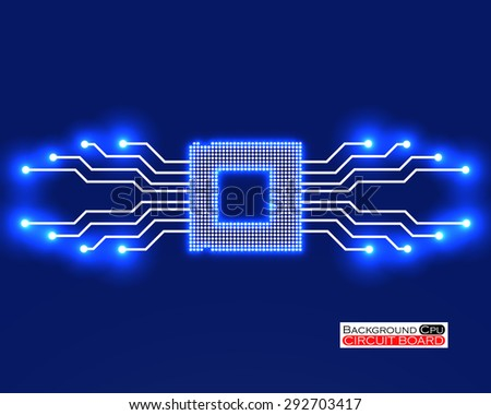 Cpu. Circuit board. Vector illustration. Eps 10 - stock vector