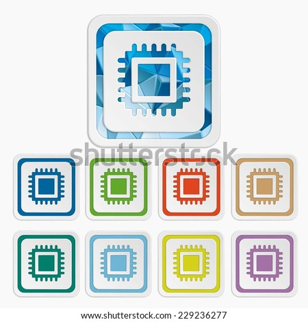 CPU isolated icons. Processor symbols. Set colorful buttons. Vector illustration. It can be used for the web sites and mobiles. - stock vector