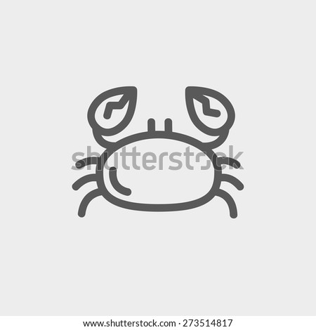 Crab icon thin line for web and mobile, modern minimalistic flat design. Vector dark grey icon on light grey background. - stock vector