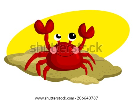 Crab In The Sand - stock vector