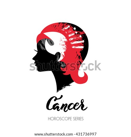 Crab zodiac sign. Beautiful girl silhouette. Vector illustration. Horoscope series - stock vector