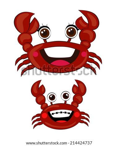 Crabs Cartoon Vector - stock vector