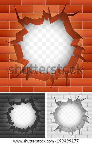Crack in brick wall. - stock vector