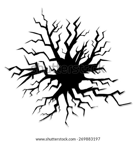 Crack isolated on White Background. Hole in the Wall. - stock vector