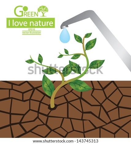Cracked clay. Water faucet. Go green. Save world. vector illustration. - stock vector